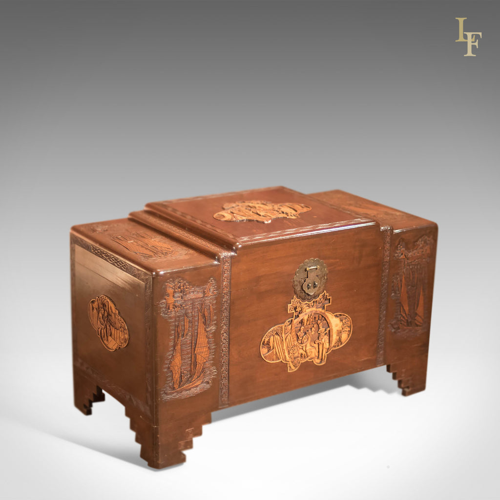 Antique Chest, Oriental Camphor Wood Trunk, 1930s - London Fine Antiques