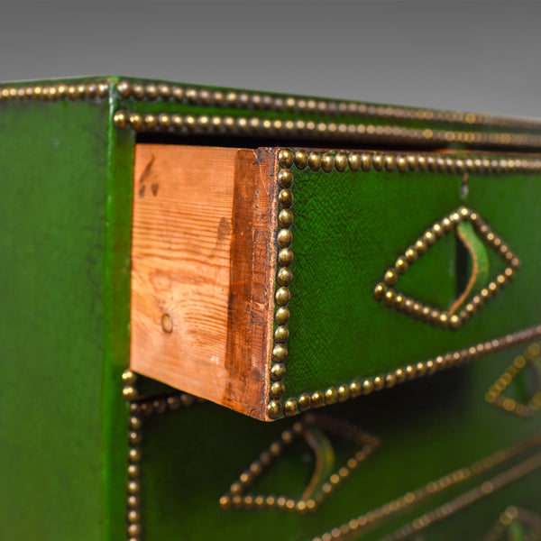 Antique Chest of Drawers, Leather, Studded Finish, English, Victorian Circa 1860 - London Fine Antiques