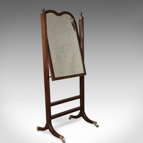 Antique Cheval Mirror, English, Regency, Tilting, Dressing, Mahogany Circa 1820 - London Fine Antiques