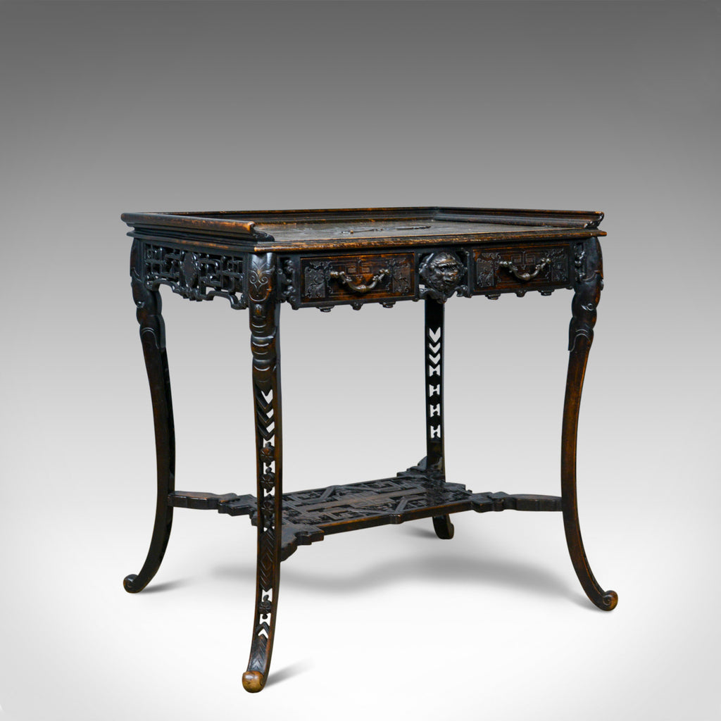 Antique Chinese Export Side Table, Carved, Oriental, Victorian, Circa 1900 - London Fine Antiques
