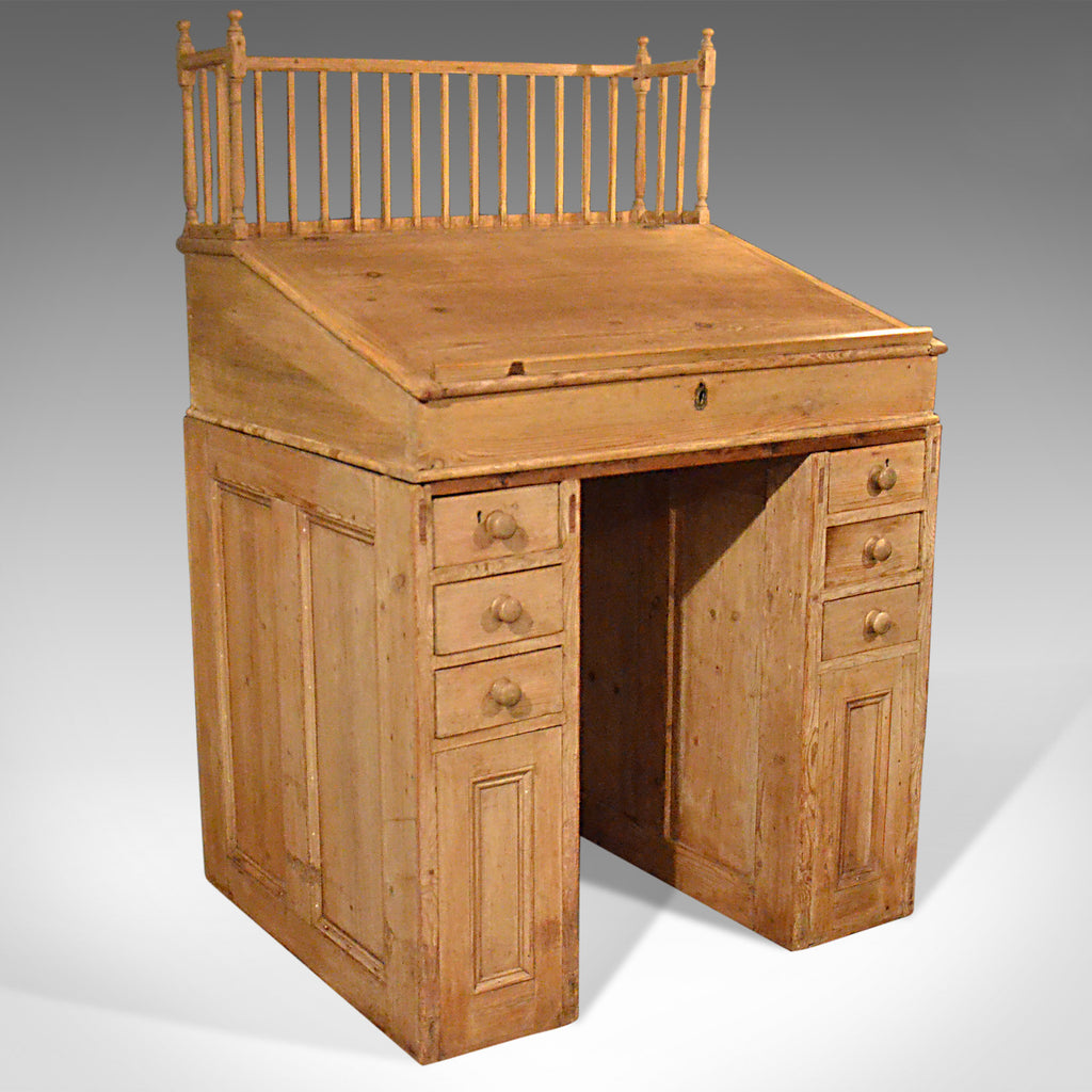 Antique Clerks Desk, English, Victorian Pine Bureau Late 19th Century Circa 1900 - London Fine Antiques