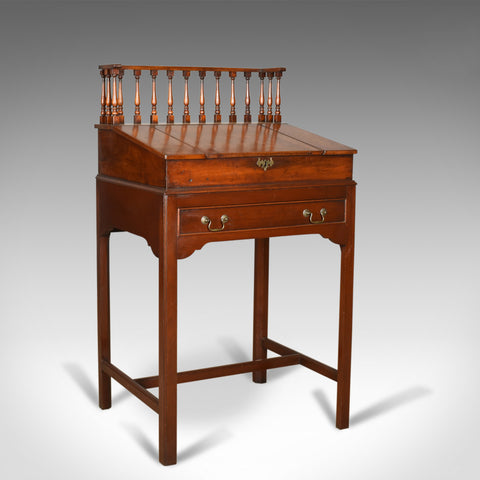 Antique Clerks Writing Desk, English, Victorian, Mahogany Tall Bureau Circa 1870 - London Fine Antiques