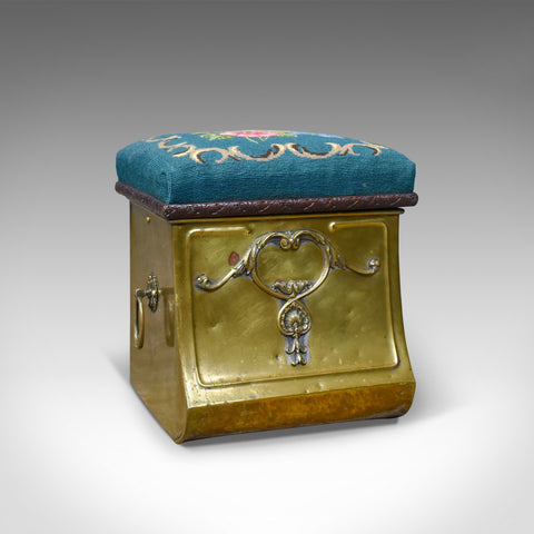 Antique Coal Bin Stool, Victorian, Brass, Fireside, Box, Needlepoint, Circa 1880 - London Fine Antiques