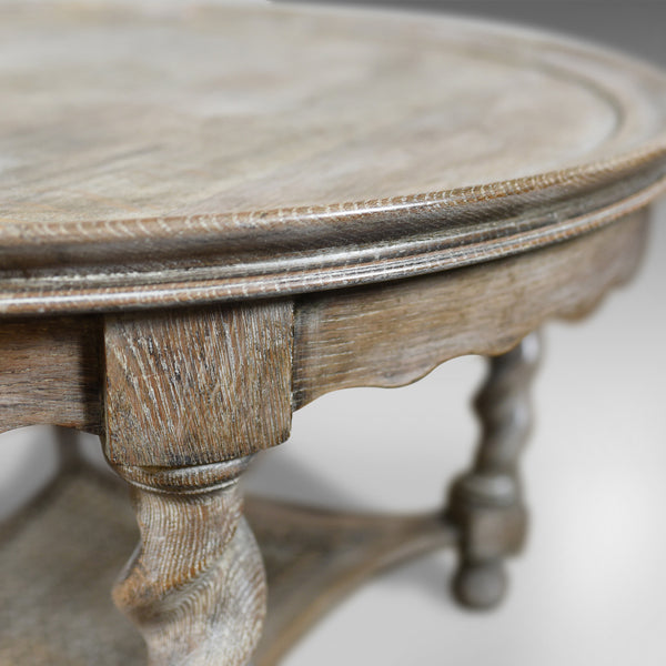 Antique Coffee Table, English, Limed Oak, Circular, Edwardian Circa 1910 - London Fine Antiques