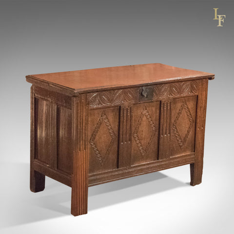17th Century Oak Panelled Antique Coffer - London Fine Antiques