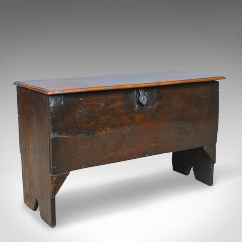 Antique Coffer, 6 Plank Sword Chest, English, Oak, 17th Century, Circa 1660 - London Fine Antiques