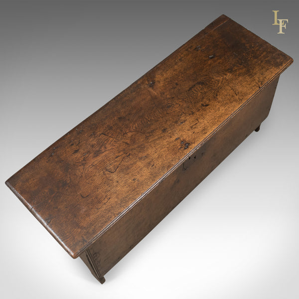 Antique Coffer, English 6 Plank Sword Chest, Oak, Late 17th Century c.1680