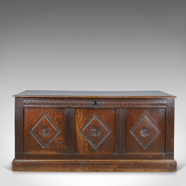 Antique Coffer, English, Oak, Joined Chest, Three Panel Trunk, c.1700 and Later - London Fine Antiques
