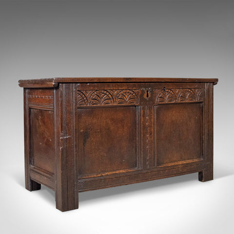 Antique Coffer, English, Oak, Joined Chest, Trunk, Late 17th Century, Circa 1700 - London Fine Antiques