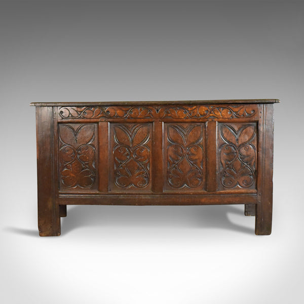 Antique Coffer, Large, English Oak Chest, Early 18th Century Trunk Circa 1700 - London Fine Antiques