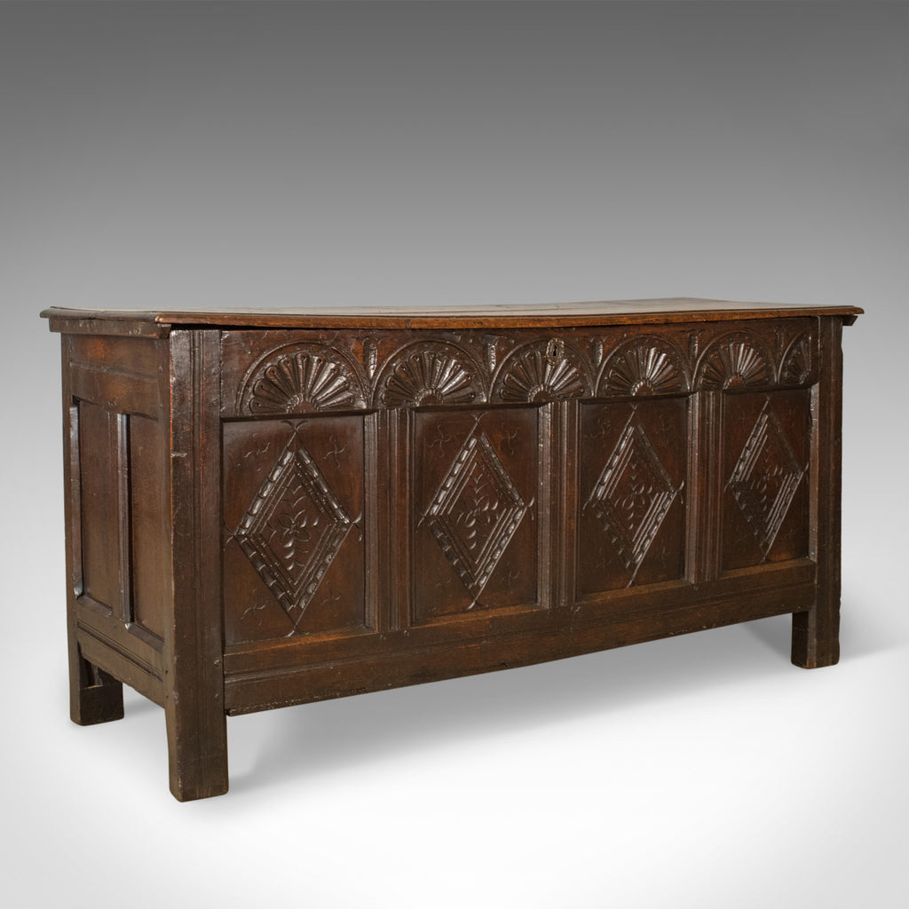 Antique Coffer, Large, English Oak, Joined Chest, Charles II Trunk, Circa 1680 - London Fine Antiques