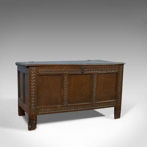 Antique Coffer, Large, English Oak, Joined Chest, Charles II Trunk, Circa 1685 - London Fine Antiques