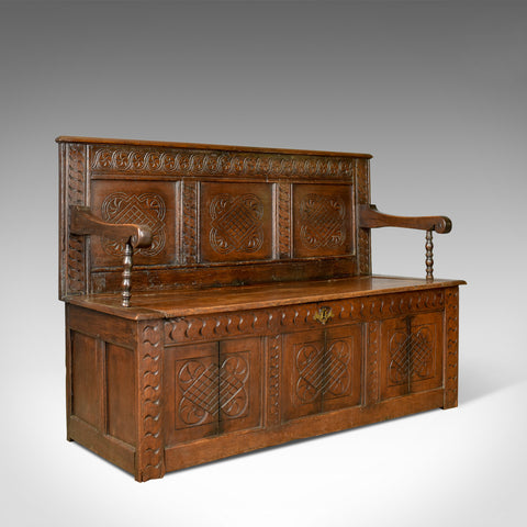Antique Coffer Settle, English, Oak, Hall, Bench, Seat, Circa 1700 - London Fine Antiques