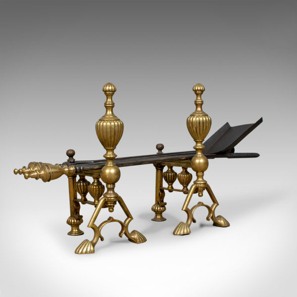 Antique Companion Set of Fire Irons on Rests, Classical Revival, Circa 1880 - London Fine Antiques
