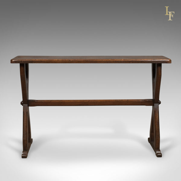 Antique Console Table, Narrow X-Frame, English, Oak, Gothic Overtones, circa 1880 - London Fine Antiques