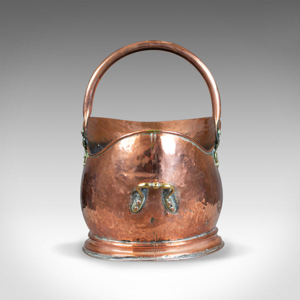 Antique Copper Coal Bin, Fireside, Scuttle Bucket, Percy Metal Works London 1929 - London Fine Antiques