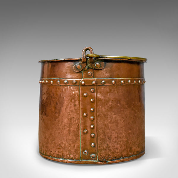 Antique Copper Coal Bucket, English, Victorian, Fireside Scuttle, Circa 1850 - London Fine Antiques