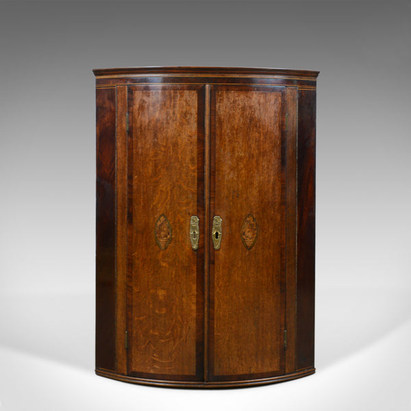 Antique Corner Cabinet, English, Georgian, Bow Fronted, Oak, Hanging, Circa 1760 - London Fine Antiques