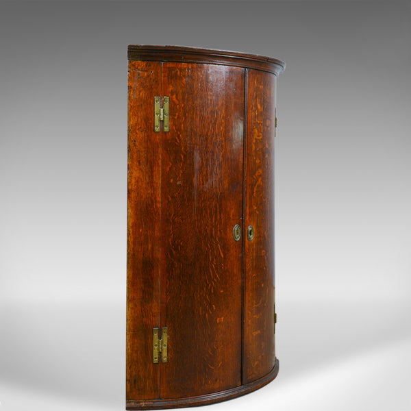 Antique Corner Cabinet, English, Georgian, Bow Fronted, Oak, Hanging, Circa 1780 - London Fine Antiques