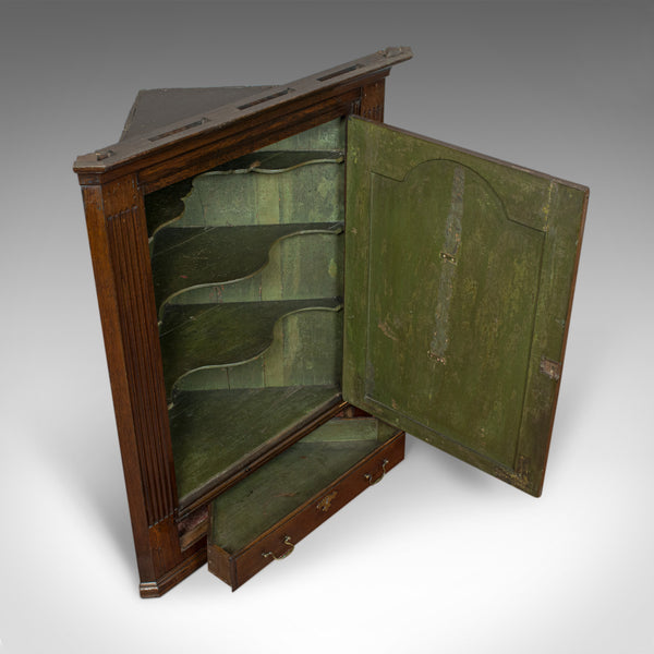Antique Corner Cabinet, English, Georgian, Oak, Hanging, Cupboard, Circa 1780 - London Fine Antiques