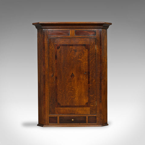 Antique Corner Cabinet, English, Georgian, Oak, Hanging, Wall Cupboard, c.1780 - London Fine Antiques