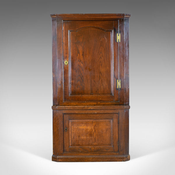 Antique Corner Cabinet, English, Oak, Georgian, Floor Standing Cupboard c.1800 - London Fine Antiques