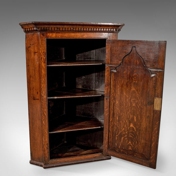 Antique Corner Cabinet, English, Oak, Late Georgian, Hanging Cupboard Circa 1780 - London Fine Antiques