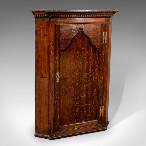 Antique Corner Cabinet, English, Oak, Late Georgian, Hanging Cupboard Circa 1780