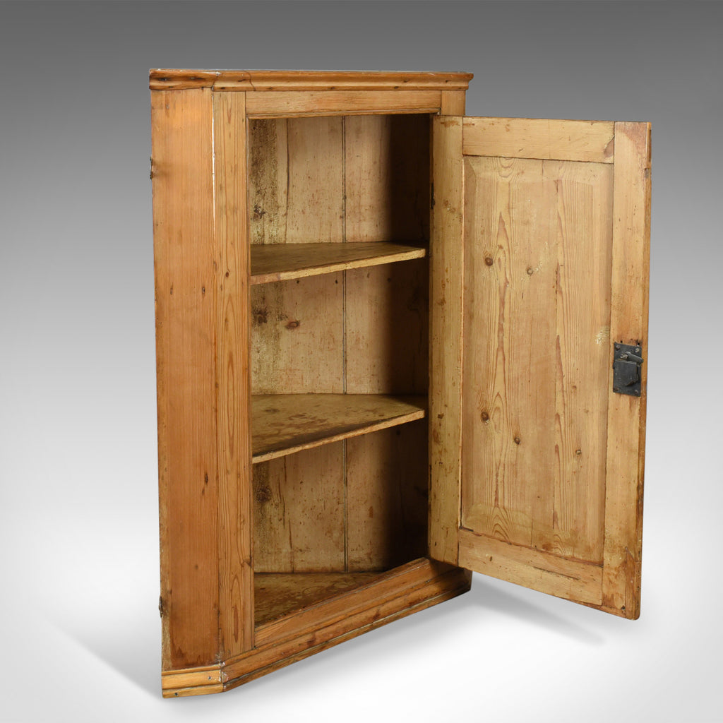... Antique Corner Cabinet, English, Victorian, Pine, Hanging, Cupboard  Circa 1880 ...