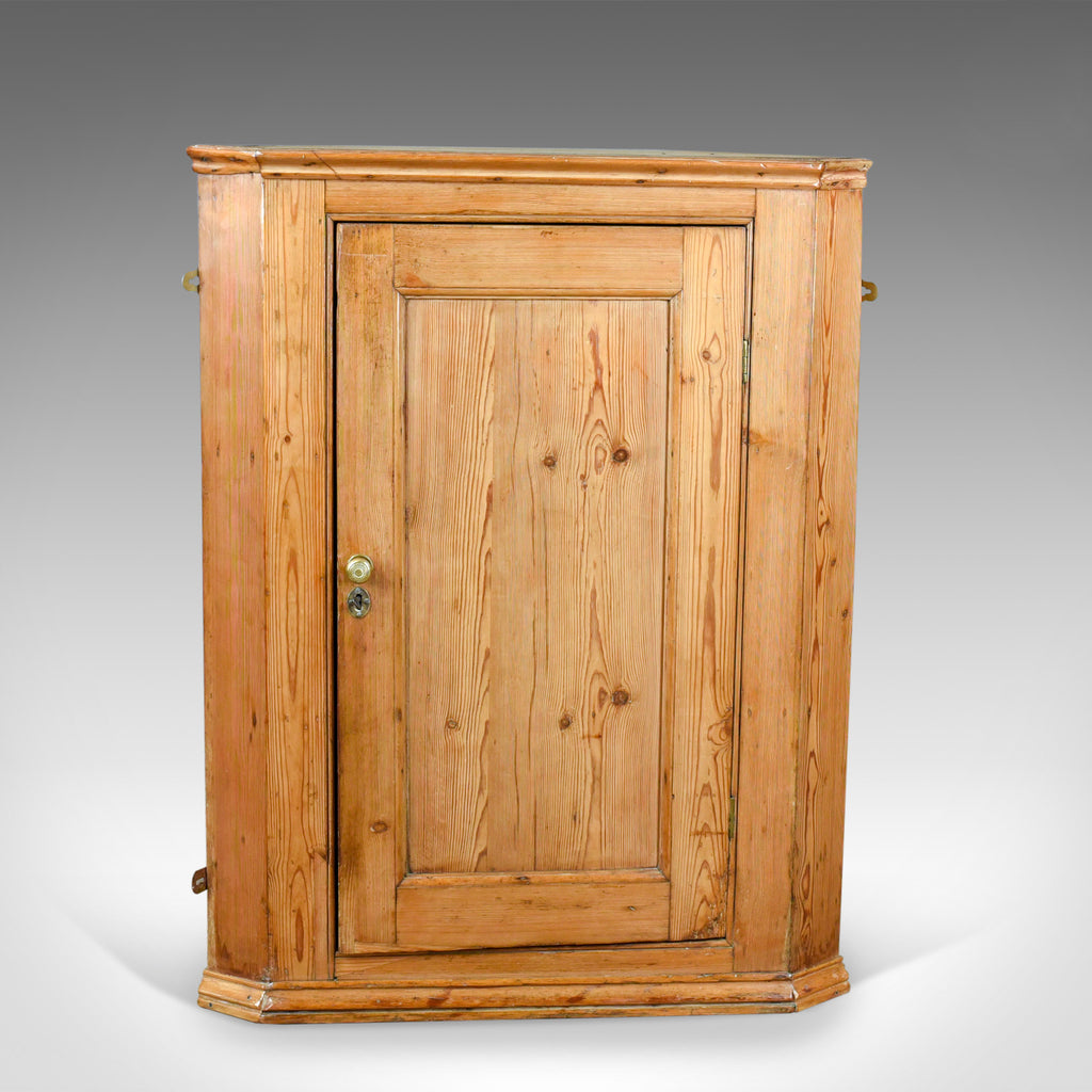 Antique Corner Cabinet, English, Victorian, Pine, Hanging, Cupboard Circa  1880 - - Antique Corner Cabinet, English, Victorian, Pine, Hanging, Cupboard