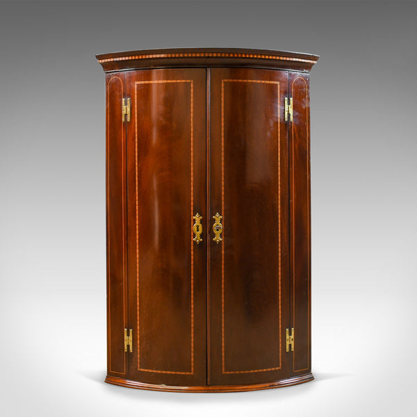 Antique Corner Cabinet, Georgian, Mahogany, Bow Fronted, Hanging, Circa 1780 - London Fine Antiques