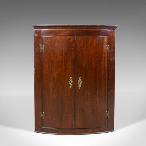 Antique Corner Cabinet, Late Georgian, Bow Fronted, Mahogany, Hanging, c.1800 - London Fine Antiques