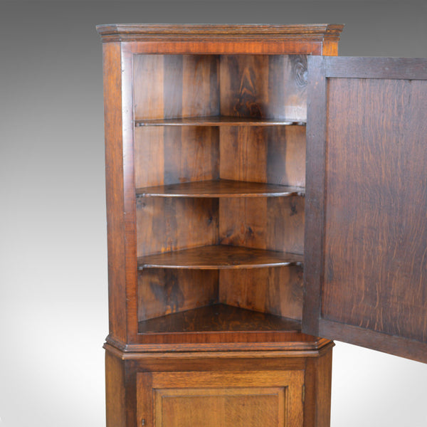 Antique Corner Cabinet on Stand, George III, Oak, Mahogany, c.1770 and Later - London Fine Antiques