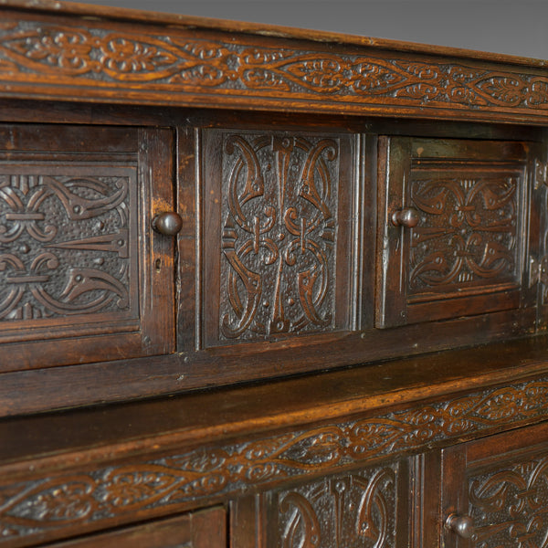 Antique Court Cupboard Georgian English Oak Sideboard Jacobean Taste Circa 1800 - London Fine Antiques