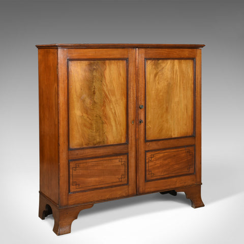 Antique Cupboard, Victorian, Flame Mahogany, Walnut, Cabinet, Circa 1870