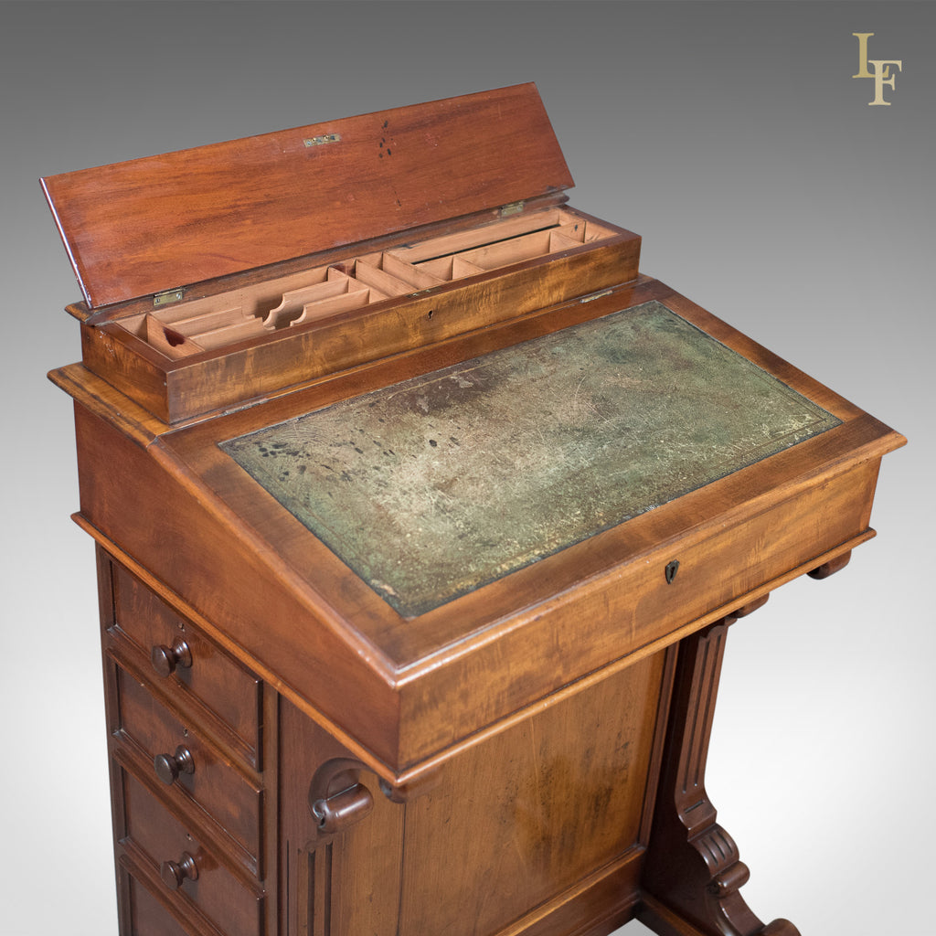 Antique davenport english victorian writing desk