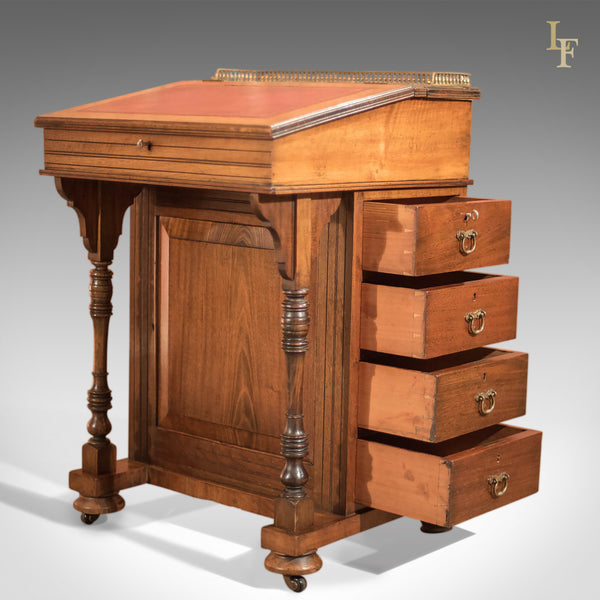Antique Davenport, Victorian Walnut Desk - London Fine Antiques