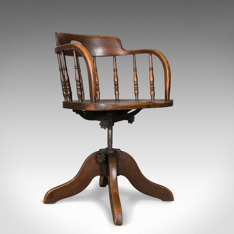 Antique Desk Chair, Victorian Captain's Armchair, Oak, Windsor Circa 1890