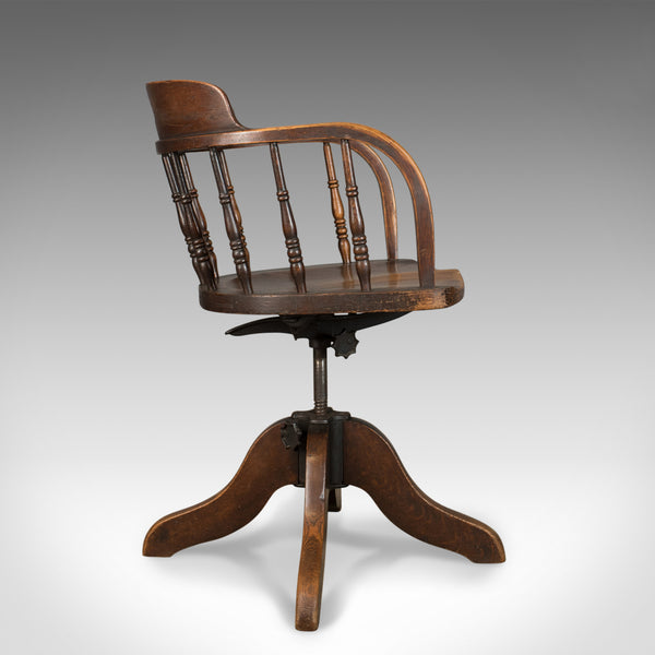 Antique Desk Chair, Victorian Captain's Armchair, Oak, Windsor Circa 1890 - London Fine Antiques