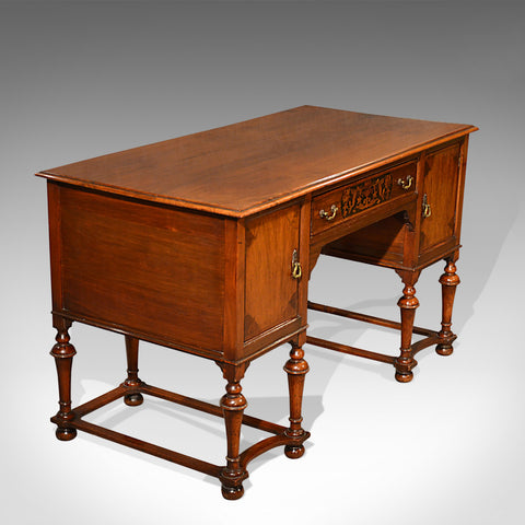 Antique Desk, English, Walnut, Writing Table, Victorian Circa 1900
