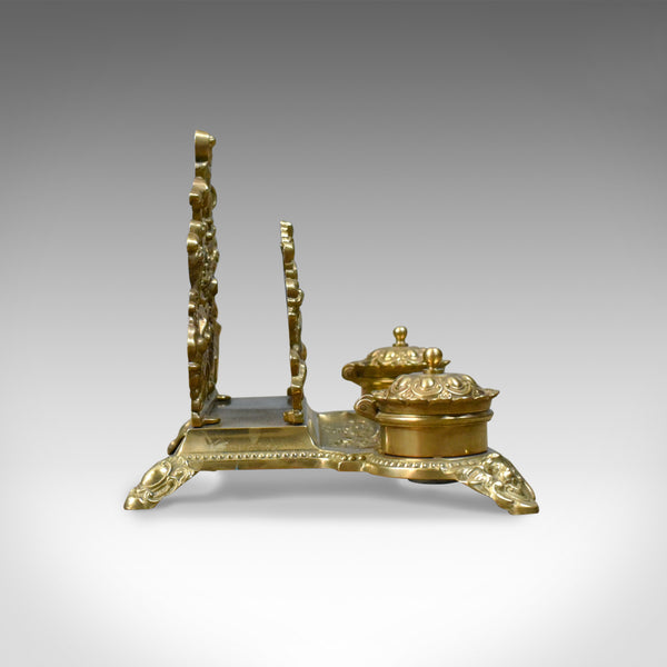 Antique Desk Stand, English, Edwardian, Gilt Metal Letter Rack, Inkwells c.1910 - London Fine Antiques