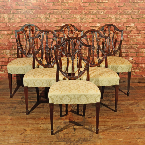 Set of 6 Hepplewhite Revival Dining Chairs, C19th - London Fine Antiques