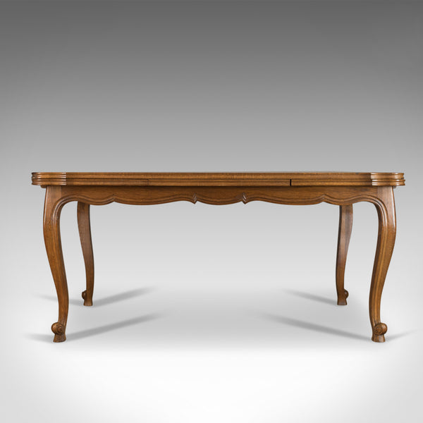 Antique Dining Table, Oak, Draw Leaf, Extending, French Parquet Seats Ten c.1920 - London Fine Antiques