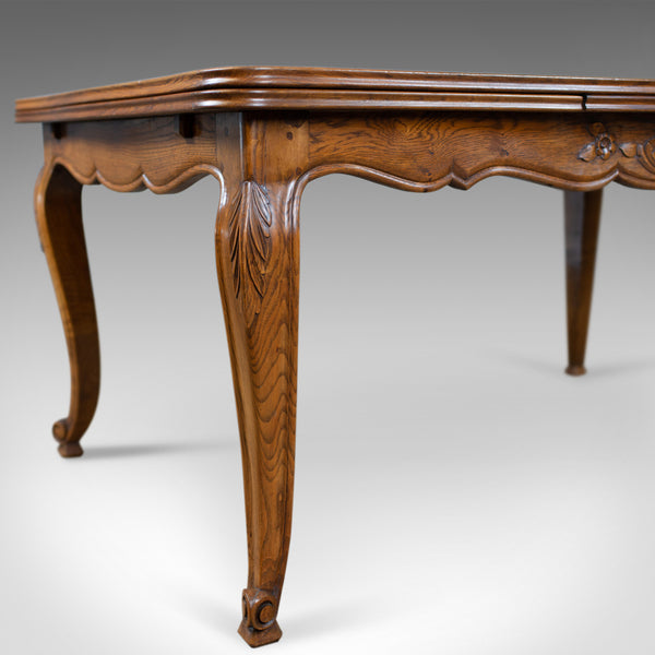 Antique Dining Table, French, Extending, Draw Leaf, Oak Parquet, Seats Ten c1910 - London Fine Antiques