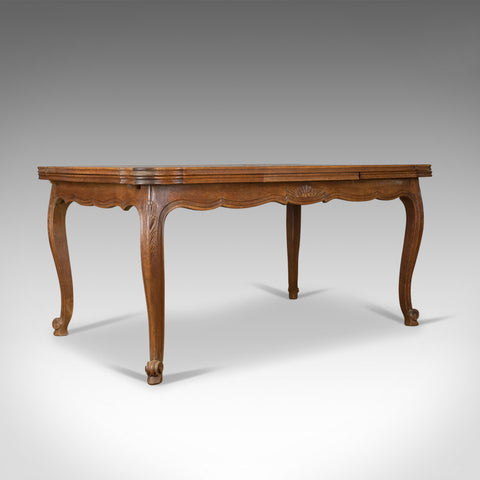 Antique Dining Table, French, Extending, Draw Leaf, Oak Parquet, Seats Ten c1940