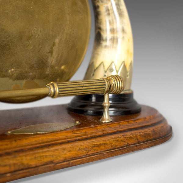 Antique Dinner Gong, English, Edwardian, Table, Oak Plinth, Circa 1910 - London Fine Antiques