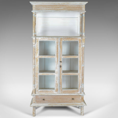 Antique Display Cabinet, Tall, French, Limed Oak Cupboard, Early 20th Century - London Fine Antiques