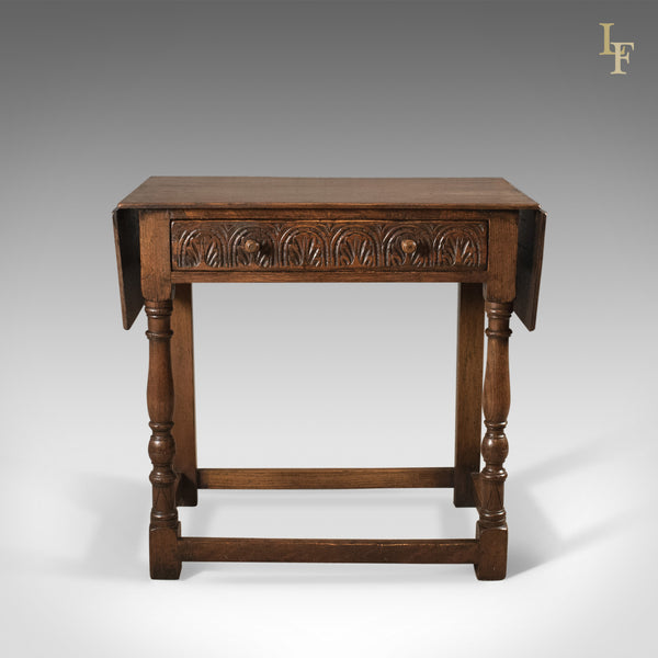 Antique Drop Flap Side Table, Victorian 17th Century Revival, English Oak - London Fine Antiques