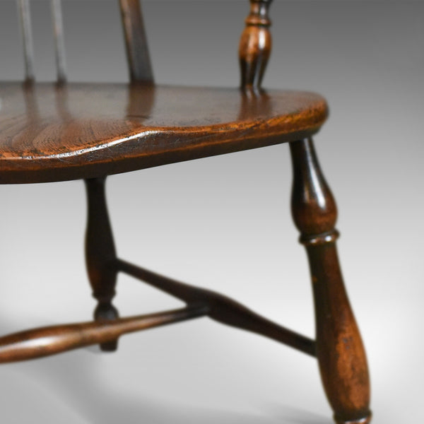 Antique Elbow Chair, English, Victorian, Bow Back Windsor, Beech Elm Circa 1890