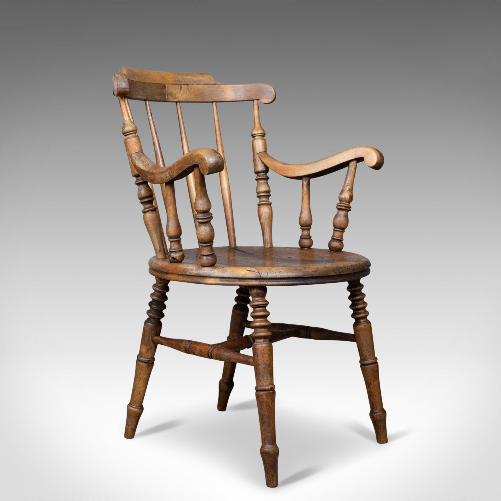 Details about Antique Elbow Chair, English, Victorian, Country Kitchen,  Armchair, Circa 8